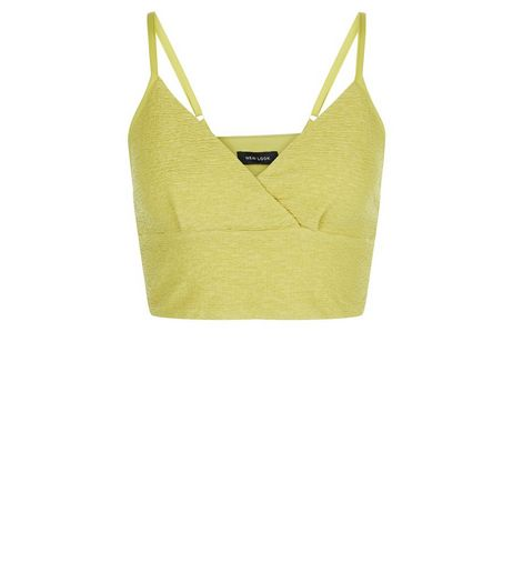Lime Green Pleated Wrap Front Crop Top  | New Look
