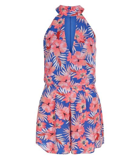 Blue Tropical Print Funnel Neck Cut Out Front Playsuit  | New Look