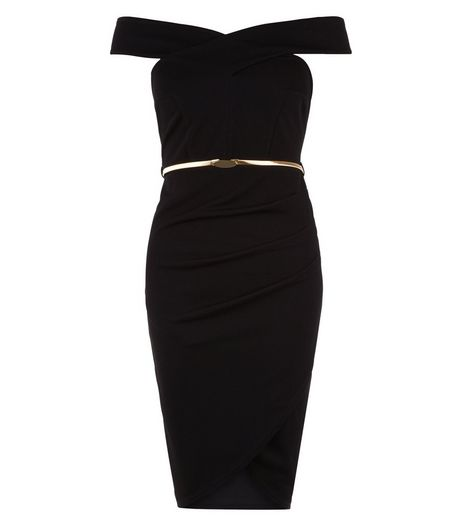 Black Bardot Neck Belted Wrap Front Bodycon Dress  | New Look