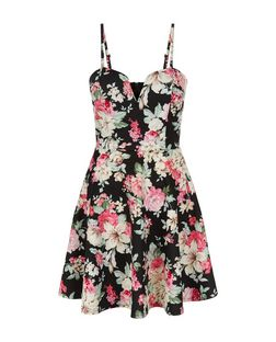 Black Floral Print Notch Neck Skater Dress  | New Look