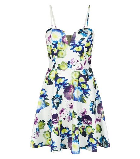 White Floral Print Notch Neck Skater Dress  | New Look