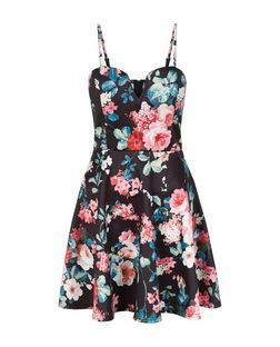 Blue Floral Print Notch Neck Skater Dress  | New Look