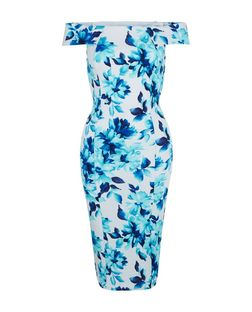White Blue Floral Print Bardot Neck Bodycon Midi Dress  | New Look