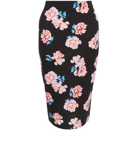 Black Rose Print Pencil Skirt  | New Look