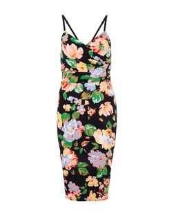 Black Floral Print Wrap Front Midi Dress  | New Look