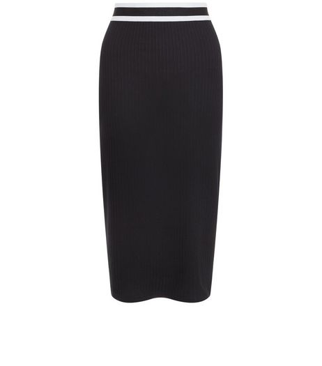 Black Ribbed Stripe Trim Pencil Skirt  | New Look