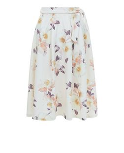 White Floral Print Bow Tie Waist Midi Skater Skirt  | New Look