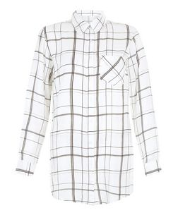 Innocence White Check Wrap Back Shirt | New Look