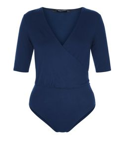Navy Wrap Front 1/2 Sleeve Bodysuit  | New Look