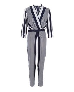Blue Stripe 3/4 Sleeve Jumpsuit  | New Look