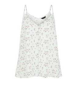 Green Floral Print Button Front Cami | New Look