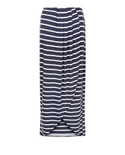 Innocence Blue Stripe Wrap Maxi Skirt | New Look