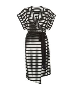 Innocence Black Stripe Wrap Dress | New Look