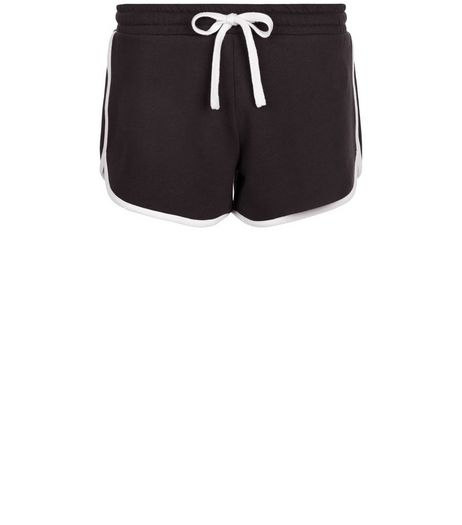 Black Contrast Trim Runner Shorts  | New Look