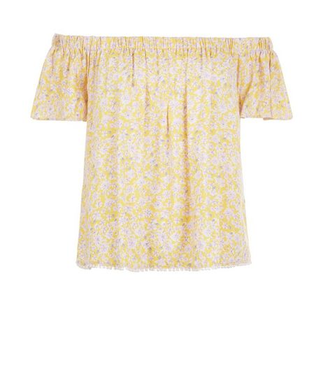 Yellow Ditsy Floral Print Crochet Trim Bardot Neck Top  | New Look