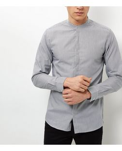 Jack and Jones Pale Grey Grandad Collar Shirt | New Look