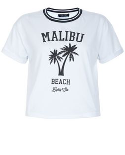 Teens White Malibu Beach Print Short Sleeve T-Shirt | New Look