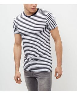 Jack and Jones Navy Stripe Short Sleeve T-Shirt | New Look
