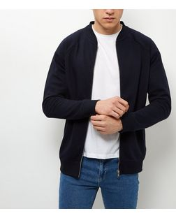 Jack and Jones Navy Zip Up Sweater | New Look