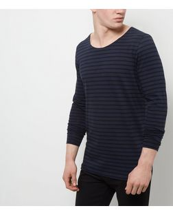 Jack and Jones Premium Navy Stripe Long Sleeve Top | New Look