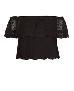 Black Lace Embroidered Trim Bardot Neck Top  | New Look