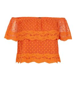 Bright Orange Lace Embroidered Trim Bardot Neck Top  | New Look