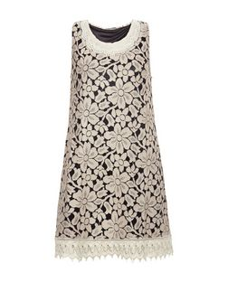 Mela Light Brown Embellished Lace Sleeveless Dress  | New Look