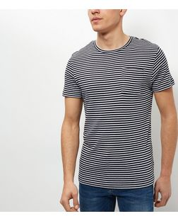 Jack and Jones Navy Stripe Pocket Short Sleeve T-Shirt | New Look