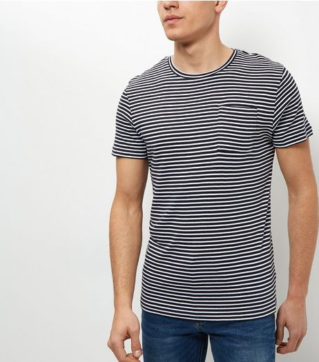 Jack and Jones Navy Stripe Pocket T-Shirt | New Look