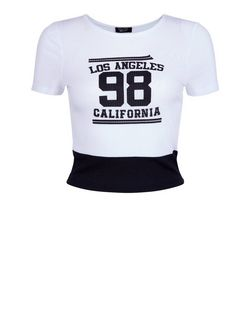 Teens White Colour Block 98 Print T-Shirt | New Look