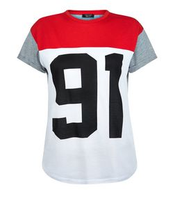 Teens Red Colour Block 91 Print T-Shirt | New Look