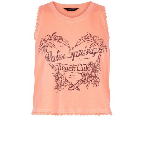 Coral Palm Spring Print Lace Trim Vest | New Look