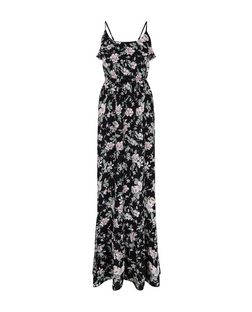Black Floral Print Ruffle Trim Maxi Dress  | New Look