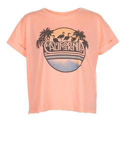 Coral California Roll Sleeve T-Shirt  | New Look