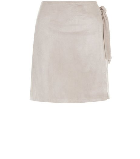 Mink Suedette Wrap Front Mini Skirt  | New Look