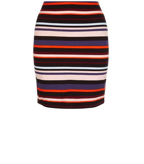 Red Stripe Tube Skirt  | New Look