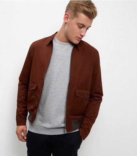 Rust Double Pocket Harrington Jacket | New Look