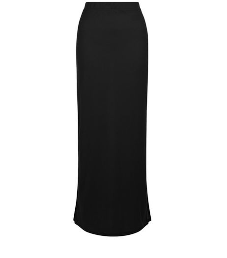 Black Ribbed Split Side Maxi Skirt  | New Look
