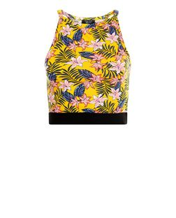 Teens Yellow Tropical Print Contrast Trim Top | New Look