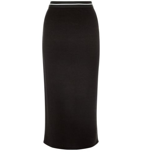 Black Ribbed Elastic Trim Pencil Skirt | New Look