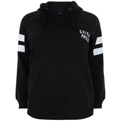 Curve Black Double Stripe Sleeve Hoodie | New Look