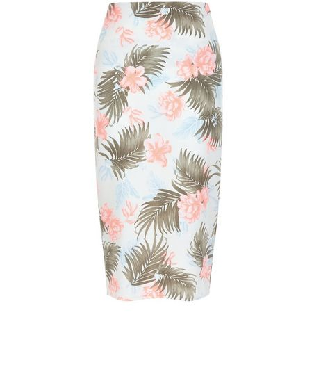 White Tropical Print Pencil Skirt | New Look