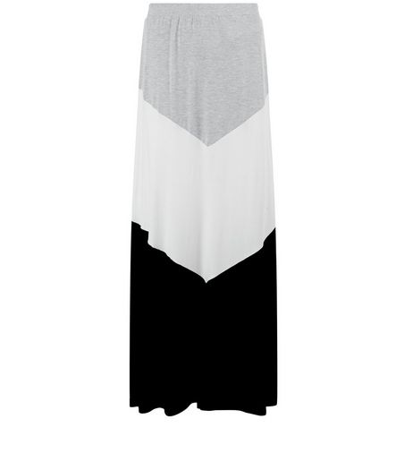 Black Colour Block Maxi Skirt  | New Look