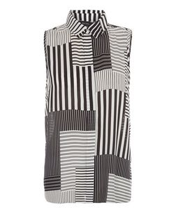 Black Patchwork Stripe Sleeveless Shirt  | New Look