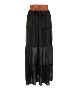 Black Chiffon Belted Maxi Skirt | New Look