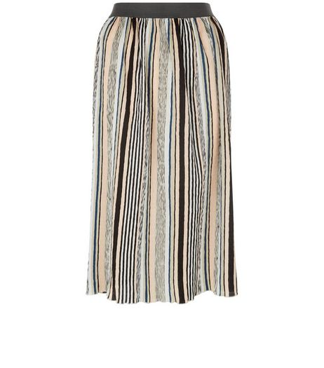 Black Stripe Elasticated Waist Midi Skirt  | New Look