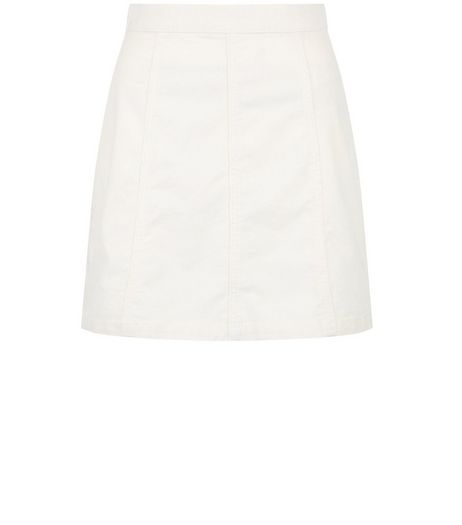 Cream Cord A-Line Skirt  | New Look