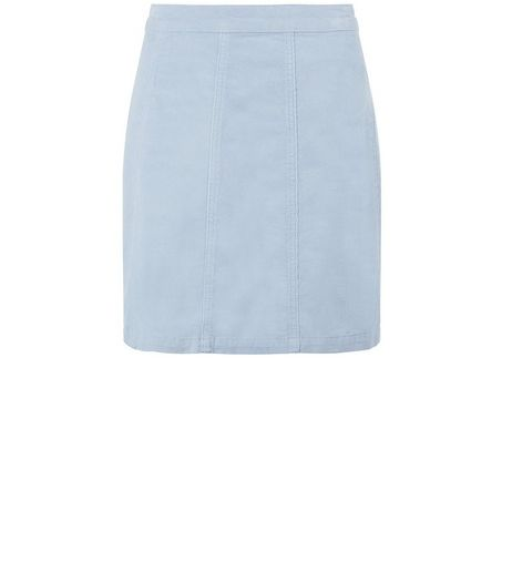 Pale Blue Cord A-Line Skirt  | New Look