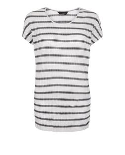 White Ribbed Stripe Cap Sleeve T-Shirt  | New Look