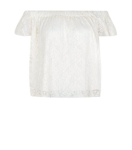 Cream Pleated Floral Lace Bardot Neck Top | New Look
